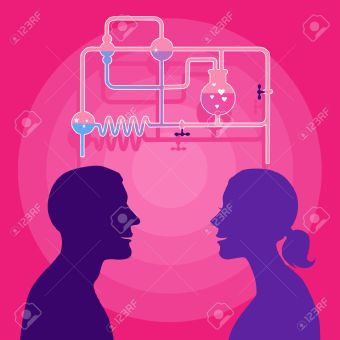 26323848-Love-chemistry-Profile-of-man-and-woman-with-a-chemistry-set-on-the-background-Stock-Vector